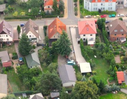 Luftbildaufnahme der Ferienwohnung in Waren (Müritz)